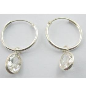 orecchini cerchio e charms zirconi bianco in argento 925 made in italy
