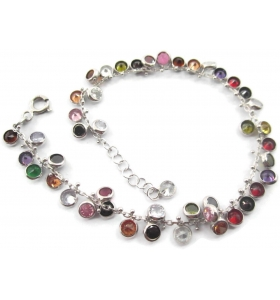 bracciale multi charms zirconi multi color in argento 925 rodiato made in italy