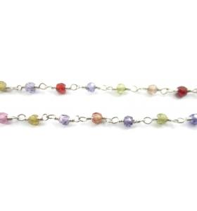 50 cm catena rosario e zirconi multi color in argento 925 di 3 x 2,5 mm