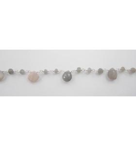 50 cm catena rosario labradorite argento 925 con gocce taglio briolè