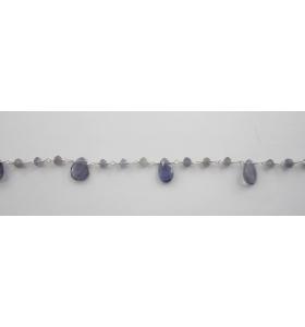 50 cm catena rosario iolite argento 925 con gocce taglio briolè