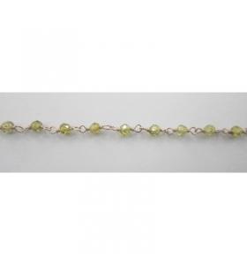 50 cm catenina rosario argento color zirconi verdi sfaccettati 3x2,5mm