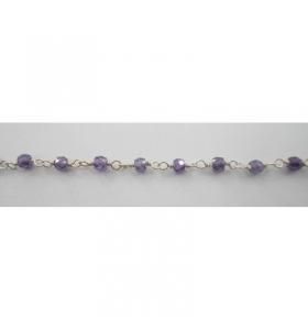 50 cm catenina rosario argento color zirconi viola sfaccettati 3x2,5mm