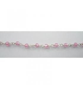 50 cm catenina rosario argento color zirconi rosa cipria sfaccettati 3x2,5mm