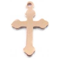 Charms ciondolo croce adatta per fare i rosari in argento 925 placcato oro rosa di 16,5x10 mm