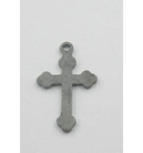 Charms ciondolo croce adatta per fare i rosari in argento 925 brunito nero di 16,5x10 mm
