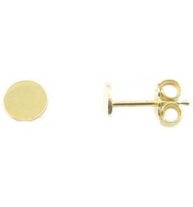1 paio di perni orecchini di 5 mm argento 925 placcato oro giallo base incollo piatta