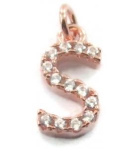 charms iniziale lettera S zirconi bianchi argento 925 placcato oro rosa ciondolo