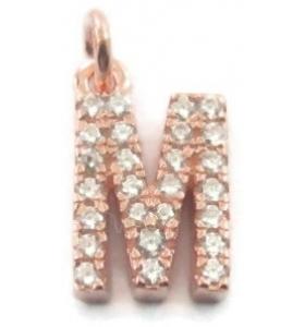 charms iniziale lettera M zirconi bianchi argento 925 placcato oro rosa ciondolo