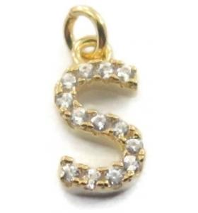 charms iniziale lettera S zirconi bianchi argento 925 placcato oro giallo ciondolo