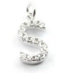 charms iniziale lettera S zirconi bianchi argento 925 rodiato ciondolo