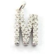 charms iniziale lettera M zirconi bianchi argento 925 rodiato ciondolo