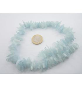 1 filo di fette in acquamarina naturale semi grezza lungo 40 cm