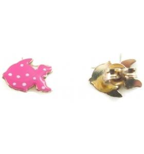 orecchini perno e pesciolino smaltato rosa in argento 925 placcato oro rosa  made in italy