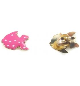 orecchini perno e pesciolino smaltato rosa in argento 925 placcato oro giallo  made in italy
