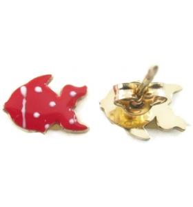 orecchini perno e pesciolino smaltato rosso in argento 925 placcato oro giallo  made in italy