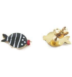 orecchini perno e pesciolino smaltato nero in argento 925 placcato oro giallo made in italy