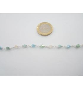 1 metro di catena rosario tono argento concatenata cristalli mix color