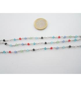 50 cm catenina rosario mix color concatenata cristalli mixcolor