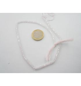 1 filo zirconi bianchi trasparenti sfaccettati di 3 x 2,5 mm lungo 33 cm