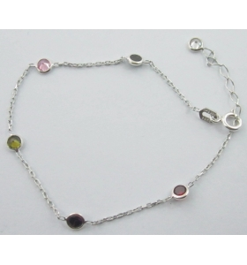 bracciale zirconi multi color in argento 925 rodiato made in italy
