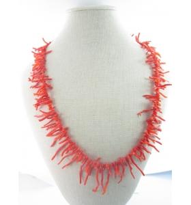 filo di rametti in gradazione di corallo rosso/aranciato naturale originale sardo lungo 50 cm