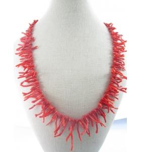 filo di rametti in gradazione di corallo rosso vivo naturale originale sardo lungo 50 cm