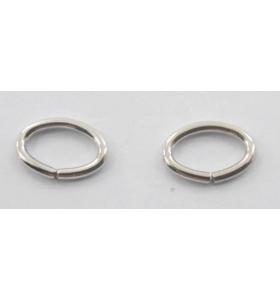 2 anellini ovali aperti di 8x5,5 mm in argento 925 rodiato
