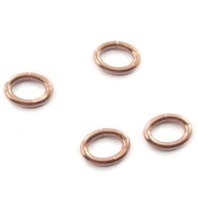 2 anellini ovali aperti di 6,5x5 mm in argento 925 placcato oro rosa