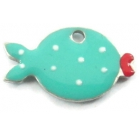 1 Ciondolo charms pesce smaltato tiffany argento 925 di 14,5x8,5 mm
