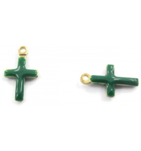 2 charms croce smaltate verde dorati di 10x6 mm