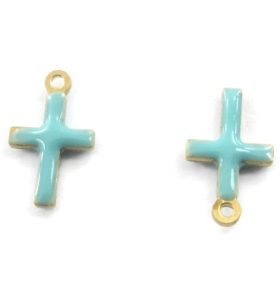 2 charms croce smaltate turchese dorati di 10x6 mm