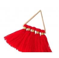 vendita 2 triangoli con nappine in cotone color rosso misurei 44x24 mm nickel free.