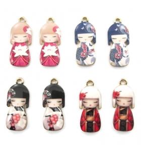 bambole tradizionali portafortuna kokeshi in ottone smaltato 23x9 mm 1 coppia nera