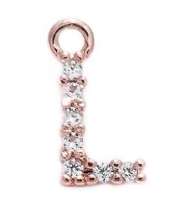 iniziale lettera L zirconi bianchi placcati oro rosa ciondolo charms