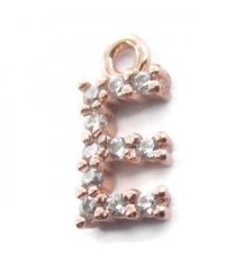 iniziale lettera E zirconi bianchi placcati oro rosa ciondolo charms