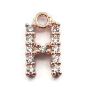 iniziale lettera H zirconi bianchi placcati oro rosa ciondolo charms