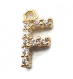 iniziale lettera F zirconi bianchi placcati oro giallo ciondolo charms