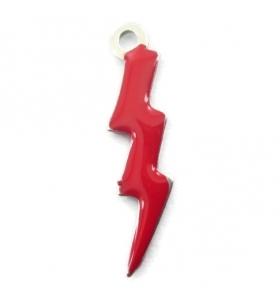1 ciondolo charms fulmine smaltato rosso in argento 925 di 18x5 mm