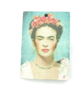 1 pendente in legno rettangolari serie art Frida Kahlo1 foro misure 34x24