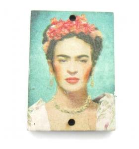 1 pendente in legno rettangolari serie art Frida Kahlo 2 fori misure 34x24