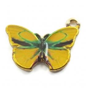 1 ciondolo pendente charms farfalla color giallo in ottone smaltato