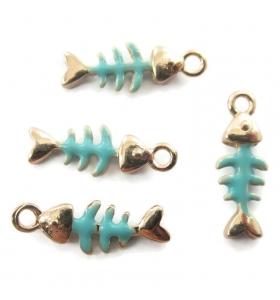 2 charms lisca di pesce smaltate fucsia dorati 16x6 mm
