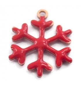 Charms fiocco di neve smalto rosso in argento 925 placcato oro rosa 13,5x12 mm