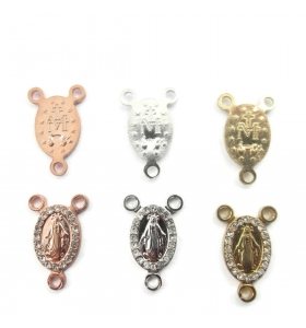 medaglietta madonnina con zirconi 3 fori per i rosari in argento 925 placcato oro giallo