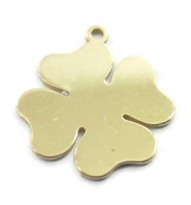 Ciondolo charms quadrifoglio argento 925 placcato oro giallo di  11 mm