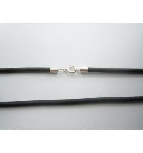 Collana caucciù con chiusure argento 925 di 3 mm lungo 55 cm 1pz.