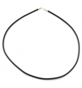 Collana caucciù 2 mm lunga 40 cm chiusure argento 925 diametro 3 mm 1pz.