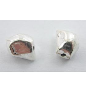 2 componenti pepita argento 925 irregolari di 9x7 mm circa