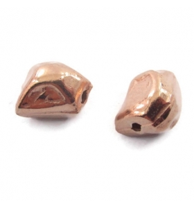 2 componenti pepita argento 925 placcato oro rosa irregolari di 9x7 mm circa
